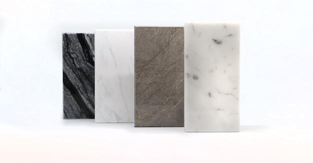 Powierzchnia tekstury kamienia, widok z przodu próbek kolorów kamienia, marmurowy materiał do aranżacji wnętrz.