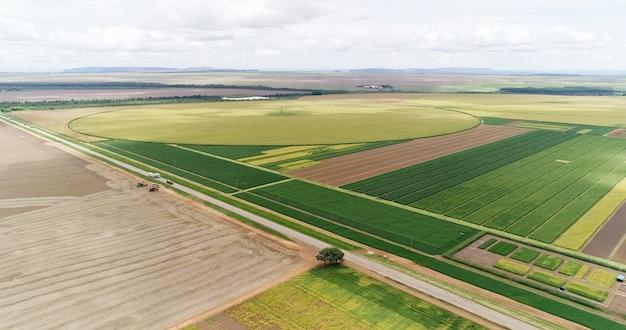 Powietrze przelatujące nad polami z belami słomy w czasie zbiorów słoneczniki sojowe i kukurydza lub kukurydza