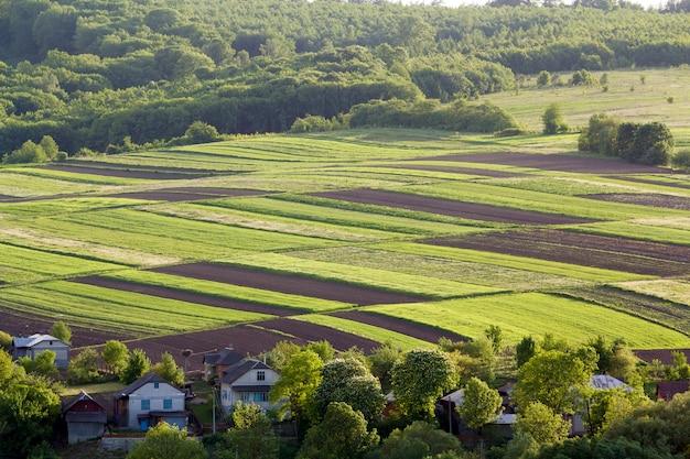 Powietrzna szeroka wiosenna panorama wiosenna kolorowych prostokątnych zaoranych i zielonych pól oświetlonych słońcem, otoczona gęstym lasem i wiejskimi domkami między sadami. piękno i harmonia koncepcji natury.