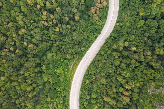 Powietrzny odgórny widok drogi przemian droga w lesie, widok od trutnia