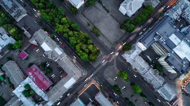 Powietrzny odgórny widok kijów pejzaż miejski, podol dziejowa gromadzka linia horyzontu od above, miasto kijów, ukraina