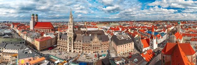 Powietrzny panoramiczny widok stary miasteczko, monachium, niemcy