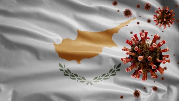Powiewająca flaga cypru i wirus mikroskopowy koronawirusa