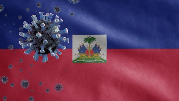 Powiewająca flaga haiti i koncepcja koronawirusa 2019 ncov