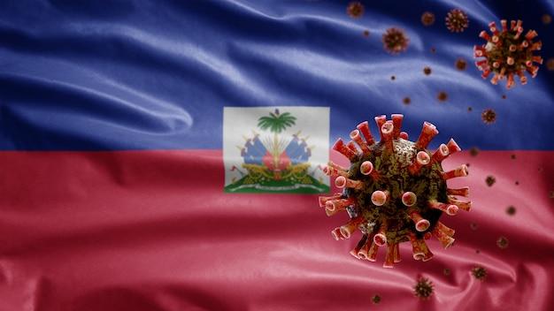Powiewająca flaga haiti z wybuchem koronawirusa infekującym układ oddechowy jako groźna grypa.