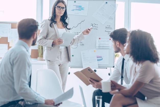 Powinniśmy się na tym skupić! młoda piękna kobieta, stojąc w biurze, wskazując na tablicę i rozmawiając o czymś ze swoimi współpracownikami