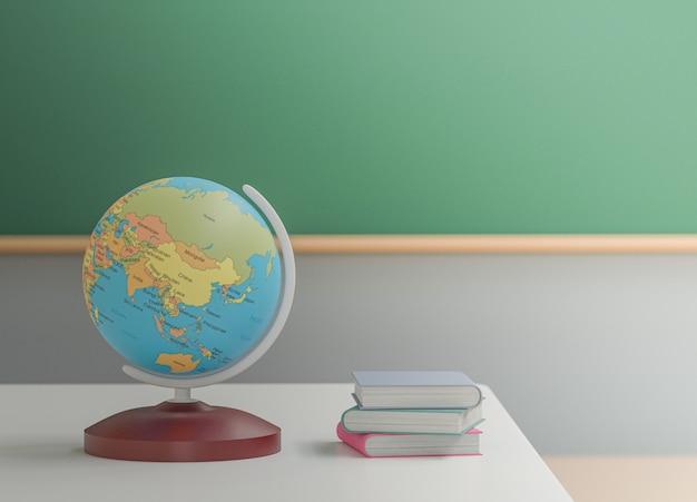Powrót do koncepcji szkoły, glob świata na stole w klasie bez ucznia z krzesłami i stołami w kampusie, renderowanie 3d