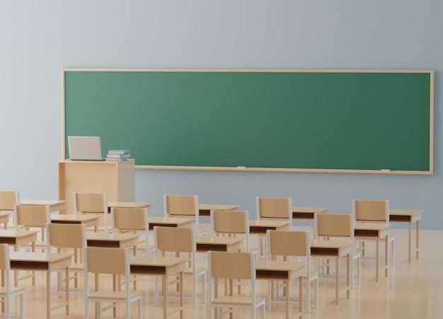 Powrót do koncepcji szkoły, klasa bez ucznia z krzesłami i stołami w kampusie, renderowanie 3d