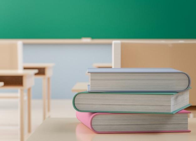 Powrót do koncepcji szkoły, książki na stole w klasie bez ucznia z krzesłami i stołami w kampusie, renderowanie 3d
