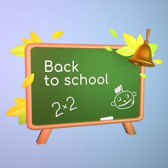 Powrót do koncepcji szkoły tablica z narysowanymi kredą twarzami i ilustracją 3d dzwonka