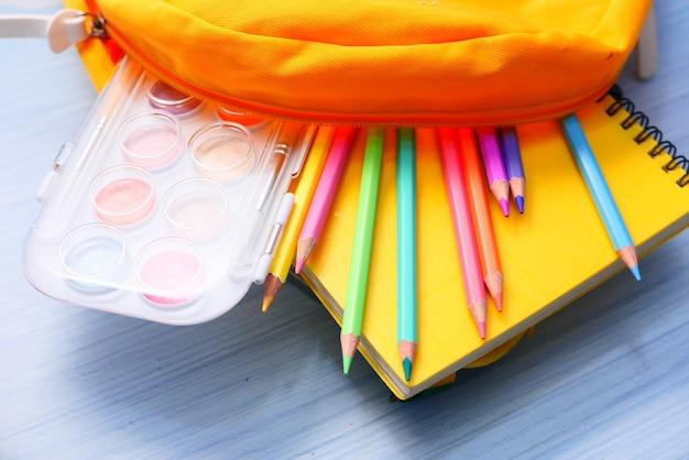 Powrót do koncepcji szkoły z żółtym plecakiem i szkolnymi dostawcami na stole.
