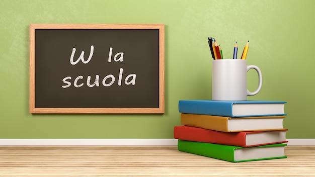 Powrót do szkoły koncepcja języka włoskiego