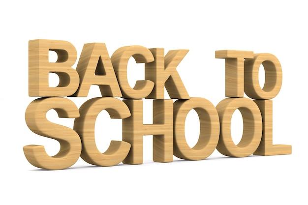 Powrót do szkoły na białej przestrzeni. ilustracja na białym tle 3d