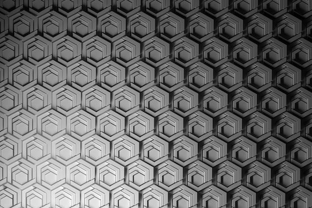 Powtarzające się struktury, wzór z drobnymi, wysoce ustrukturyzowanymi sześciokątami. sześciokąty cięte i kształtowane. wzór o strukturze plastra miodu.