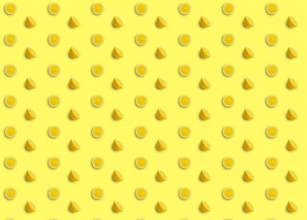 Powtarzające się wzory złożone z plasterków cytryny i połówek cytryny na żółtym tle