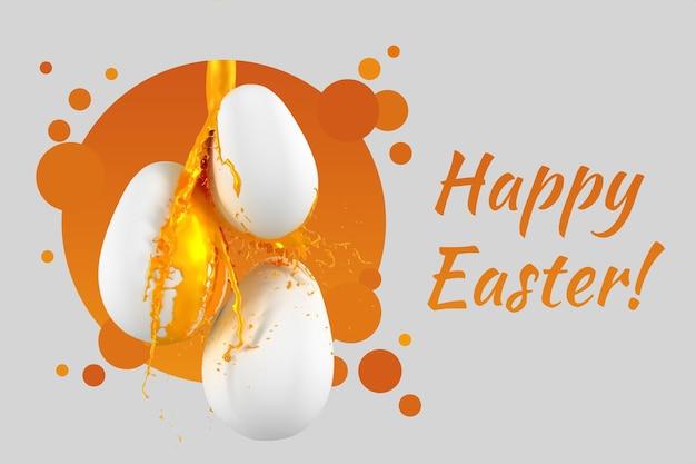 Pozdrowienia wielkanocne z farbą w sprayu kapiącą z jajek