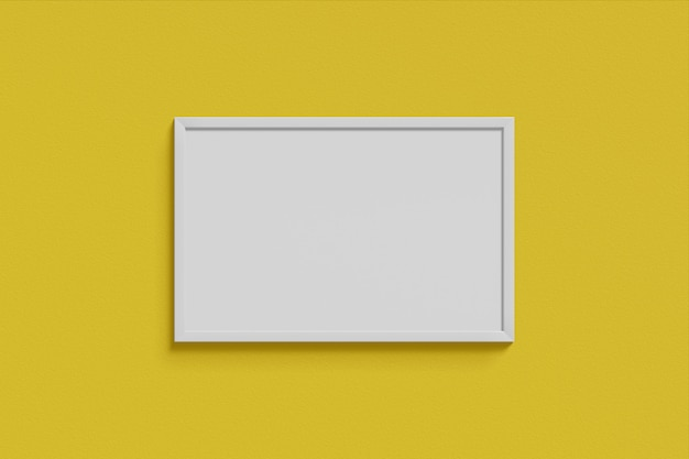 Pozioma prosta makieta ramki na zdjęcia biały kolor wiszący na pustej żółtej ścianie proste wnętrze. renderowanie 3d