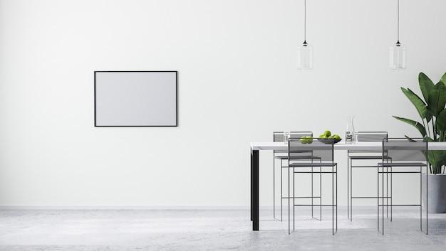 Pozioma rama makieta w nowoczesnym jasnym białym pokoju z nowoczesnym stołem barowym i stołkami barowymi, skandynawski styl minimalistyczny, renderowanie 3d