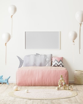 Pozioma rama w pokoju dziecięcym z różową sofą i miękkimi zabawkami w renderowaniu 3d