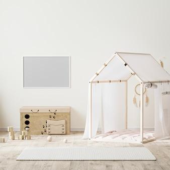 Pozioma rama w stylu indyjskim wnętrze pokoju dziecięcego z namiotem, komoda dla dzieci i zabawkami, renderowanie 3d