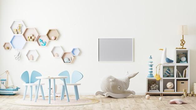 Pozioma rama we wnętrzu pokoju zabaw dla dzieci z zabawkami, meblami dla dzieci, stołem z krzesłami, półkami renderowania 3d