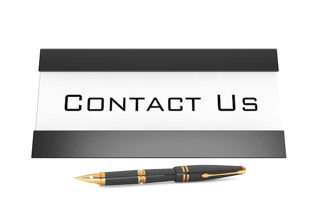 Poziome pusta tabela znacznika karty z skontaktuj się z nami zarejestruj na białym tle. renderowanie 3d