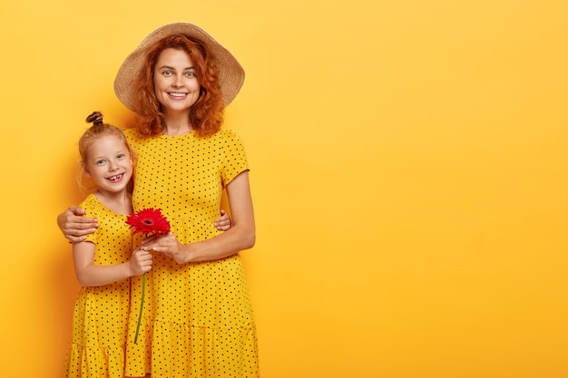 Poziome ujęcie pięknej rudowłosej matki i córki pozuje w podobnych sukienkach