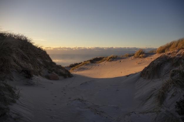 Poziome ujęcie wydmy na wybrzeżu galicji w hiszpanii