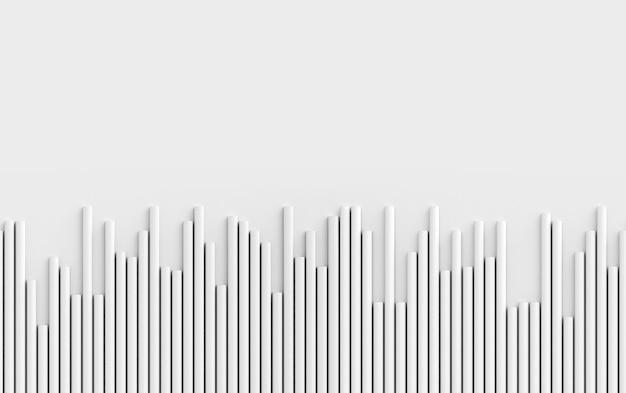 Poziomo bezszwowa tekstura białe paski rury geometryczny wzór 3d renderowania tła