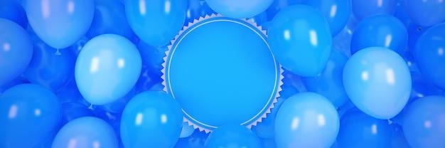Poziomy baner z balonami i renderowaniem 3d ramki