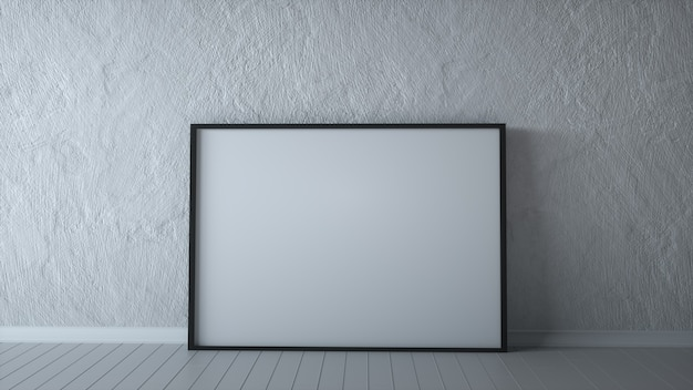 Poziomy pusty billboard na szarej kamiennej ścianie, renderowania 3d w białym pokoju.