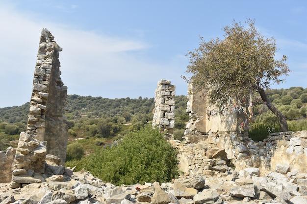 Pozostałości zrujnowanego kamiennego miasta