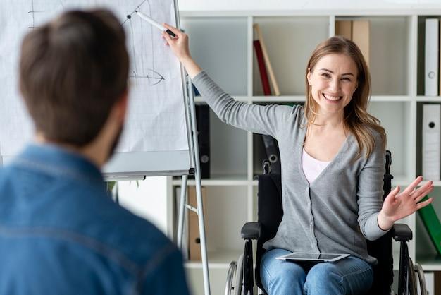 Pozytywna młoda kobieta przedstawia projekt