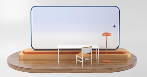 Praca z koncepcją koronawirusa domowego. duży smartfon stoi na podium i ma biurko z przodu. renderowanie 3d