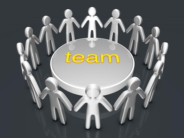 Praca zespołowa. grupa ikonicznych ludzi stojących w kręgu.