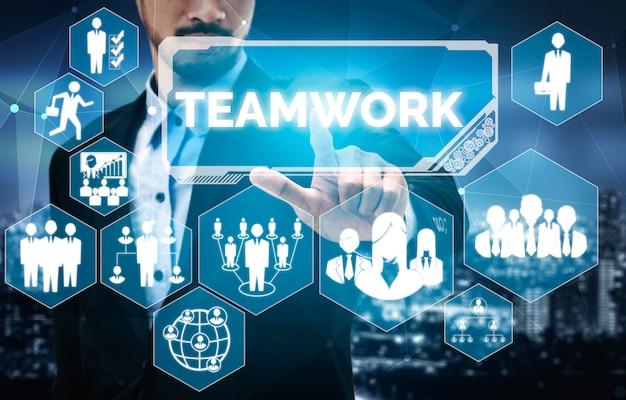 Praca zespołowa i biznes koncepcja zasobów ludzkich