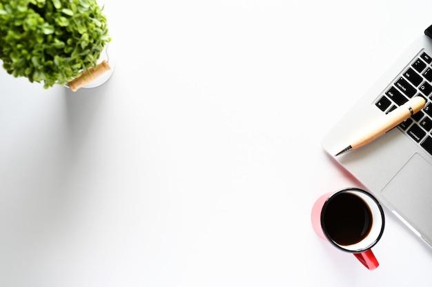 Pracować z laptopem, rośliny i kawy kopii przestrzeń na nowożytnym stole