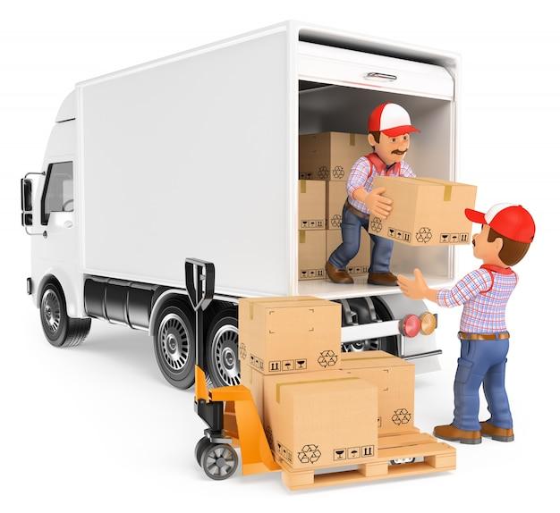 Pracownicy 3d rozładowują pudła z ciężarówki