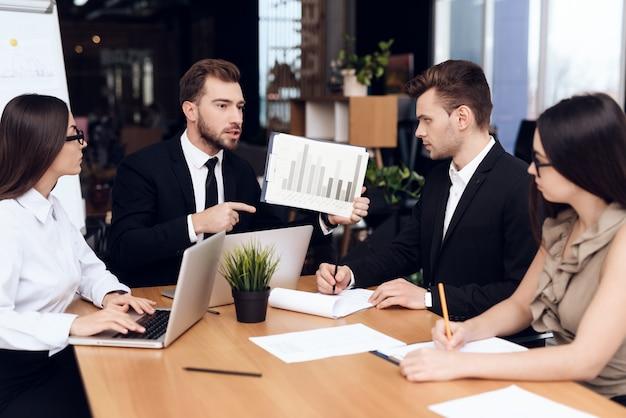 Pracownicy firmy spotykają się przy stole.