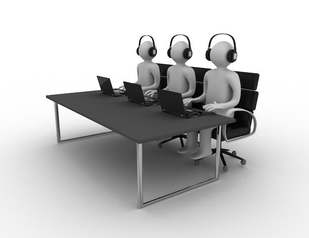 Pracownicy pracujący w call center