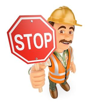 Pracownik budowlany 3d z sygnałem stop