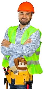 Pracownik budowlany odizolowywający na bielu