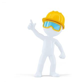 Pracownik budowlany z kaskiem wskazującym na obiekt