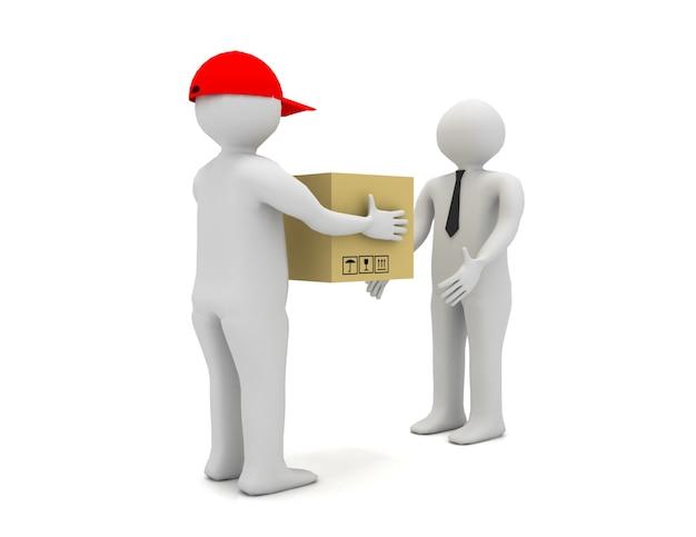 Pracownik dostarczający paczkę do biznesmena. 3d renderowana ilustracja