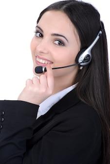Pracownik obsługi klienta kobieta, operator call center uśmiechnięty.