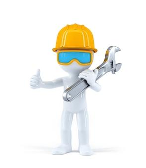 Pracownik z kluczem rurowym