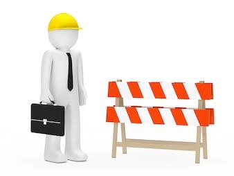 Pracownik z teczką i zablokowanej drodze