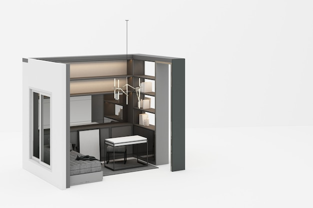 Pracujący pokój w nowożytnym klasyka stylu z szarym meblarskim brzmieniem na białym 3d renderingu