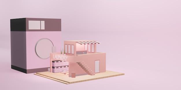 Pralnia model pralka moneta usługi pralnicze ilustracja kreskówka 3d