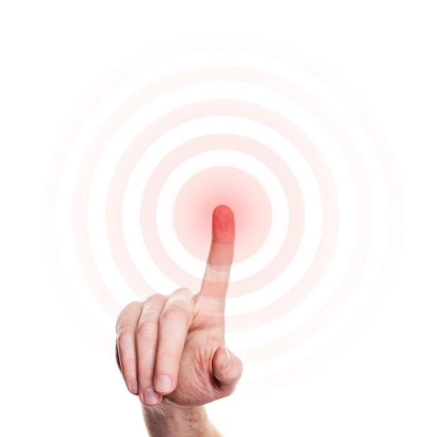 Prasa ręczna na czerwony przycisk na białym tle